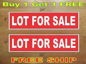 White On Red Lot For Sale 6 x24 Real Estate Rider Signs Buy 1 Get 1 Free