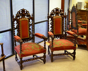 111011 Pair Of French Antique Renaissance Hunt Carved Arm Chairs Barley Twist