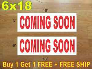 6 x18 Coming Soon Red Real Estate Rider Signs Buy 1 Get 1 Free 2 Sided