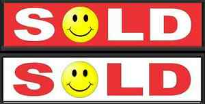 1 Red 1 White Sold Smiley Face 6 x24 Real Estate Rider Signs Buy 1 Get 1 Free