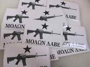 50 Molon Labe Come And Take It Decals Ar 15 Wholesale Bumper Stickers