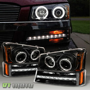 2003 2006 Chevy Silverado 1500 Led Projector Headlights led Drl Bumper Lights