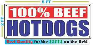 100 Beef Hot Dogs Banner Sign Food Truck Cart Store Pool 2x5