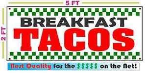 Breakfast Tacos Banner Sign New Shop Restaurant Stand Or Cart Convenience Store