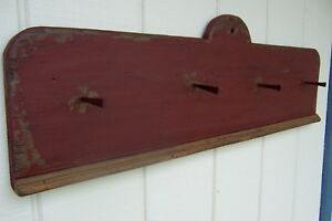 Primitive Rustic Painted Country Wall Shelf Peg Rack Farmhouse Decor Shelves