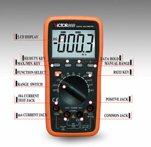 New 3 3 4 Digital Multimeter Hi accuracy Voltmeter Meter Usb Interface Dmm 86b