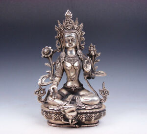 Vintage Tibetan Silver Plated Copper Crafted Large Green Tara Buddha Statue