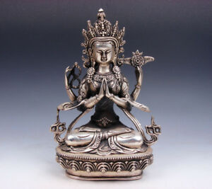 Vintage Tibetan Silver Plated Copper Crafted Large 4 Arms Kwan Yin Buddha