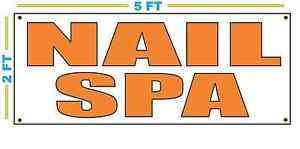 Nail Spa In Orange Banner Sign New Size