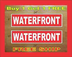 White On Red Waterfront 6 x24 Real Estate Rider Signs Buy 1 Get 1 Free