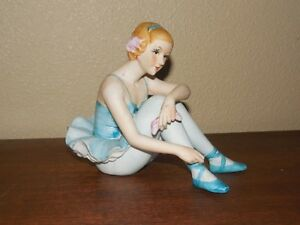 Norleans Blue Ballerina Girl Sitting Dancer Figurine Vintage