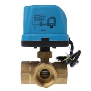 Electric Motorized Brass Ball Valve Dn25 Ac 220v 3 Way 3 wire With Actuator Hot