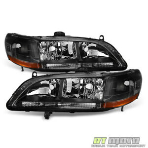 For 1998 2002 Honda Accord Dx Ex Lx Se Clear Trim Blk Headlights Headlamps 98 02