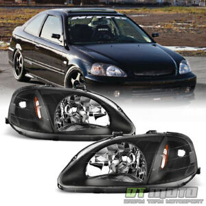 For 1999 2000 Honda Civic 2 3 4dr Jdm Style Blk Headlights Headlamps Left right