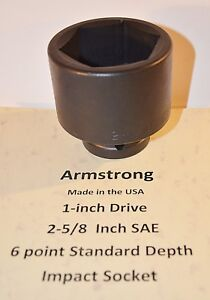 2 5 8 Inch Armstrong Usa 1 Inch Drive Impact Socket 6 Point New Ships Free