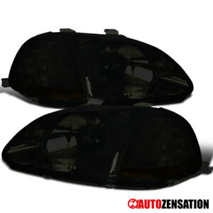 Fit 1996 1998 Honda Civic Coupe Hatchback Sedan Smoke Tinted Headlights Lamps