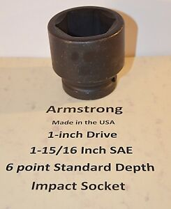 1 15 16 Inch Armstrong Usa 1 Inch Drive Impact Socket 6 Point New