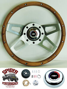 1968 Camaro Steering Wheel Red White Blue Bowtie 13 1 2 Walnut 4 Spoke Grant