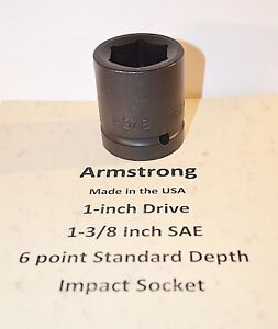 1 3 8 Inch Armstrong Usa 1 Inch Drive Impact Socket 6 Point New
