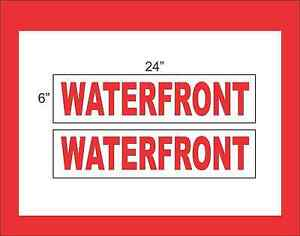 Waterfront 6 x24 Real Estate Rider Signs Buy 1 Get 1 Free 2 Sided Plastic