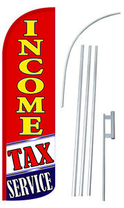 Income Tax Service Flag Kit 3 Wide Windless Swooper Feather Advertising Sign