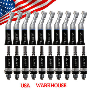 Usa 10 Kit Dental Slow Low Speed Contra Angle With E type Air Motor Handpiece 4h