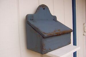 Primitive Painted Country Wall Candle Mailbox Farmhouse Shelf Salt Spice Mailbox