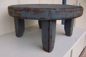 Primitive Round Rustic Painted Bench Country Farm Table Riser Farmhouse Colonial