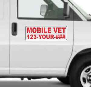 Custom Mobile Vet Magnetic Signs For Car Truck Suv 6 x18 Phone Or Web Site