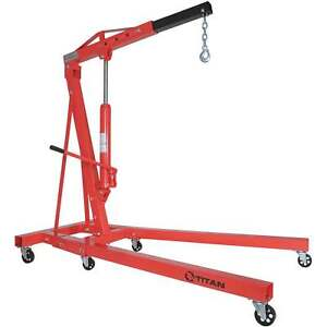 Titan Attachments 2 Ton Steel Shop Crane Adjustable Height Cherry Picker Lift