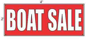 2x4 Boat Sale Red With White Copy Banner Sign