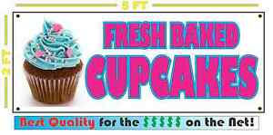 Fresh Baked Cupcakes Banner Sign New Larger Size For Bakery Cake Shop
