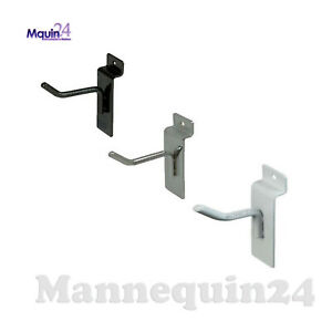 2 Slatwall Hooks For Slat Panel Display Black White Or Chrome