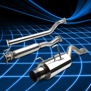 4 muffler Rolled Burnt Tip Catback Exhaust For 02 06 Acura Rsx Dc5 Type s 2 0l