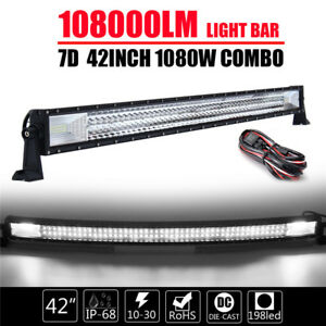 Curved Tri row 42inch 1080w Combo Led Work Light Bar Car Boat Truck Lamp wire