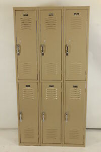 Set Of 6 Metal Double Stack Vintage Lockers Interior Steel Equipment Co Beige