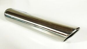 Exhaust Tip 3 50 Dia X 12 00 Long 2 25 Inlet Rolled Slant Edge W35012 225 Rss