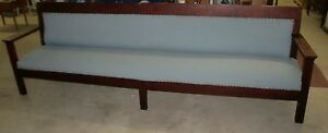 Antique Original Old Finish Mahogany 121 5 Inches Long Bench Seat Solid Built