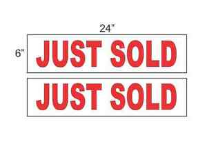 Just Sold Red 6 x24 Real Estate Rider Signs Buy 1 Get 1 Free 2 Sided Plastic