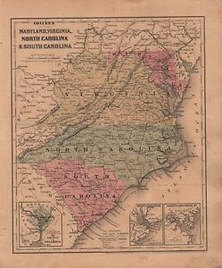 1860 Two Sided Original J H Colton Map Maryland Va Nc Sc Georgia Alabama Fl