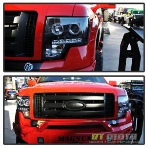 Black 2009 2014 Ford F150 Led Halo Projector Headlights W Daytime Running Lights