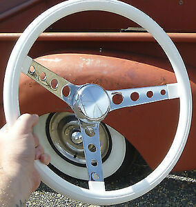 15 Old School White Steering Wheel Rat Hot Rod Custom Gasser Lowrider Vtg Style