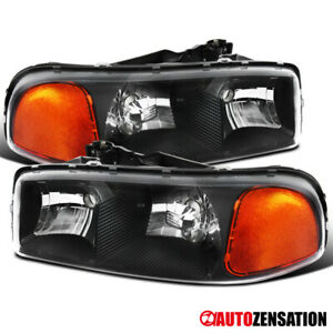 2000 2006 Gmc Sierra Yukon Xl 1500 2500 Pair Black Clear Headlights Head Lamps