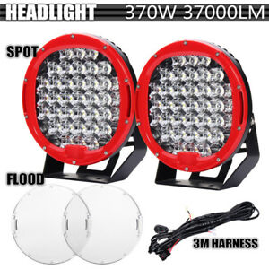 2x 9 Inch 370w Led Round Work Light Spot Flood Driving Headlamp Offroad Suv Atv
