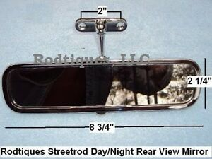 Hot Rod Day night Screw On Rearview Mirror Streetrod Rat Rod Rear View Interior