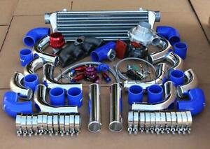 Diy Chrome Intercooler Piping Blue Silicone Coupler T3 t4 Turbo Kit For D15 D16