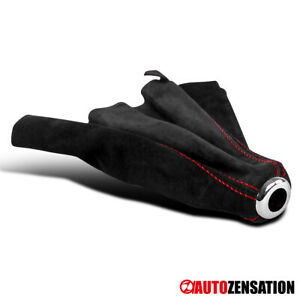 For Black Suede Leather Red Stitch M T Shift Gear Boot Cover