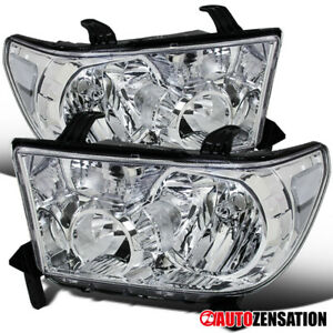 For 2007 2013 Toyota Tundra 2008 2014 Sequoia Clear Lens Headlights Lamps Pair