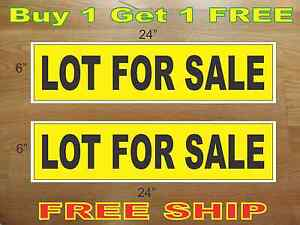 Lot For Sale Yellow Black 6 x24 Real Estate Rider Signs Buy 1 Get 1 Free