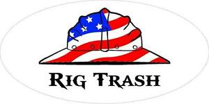 3 Rig Trash Us Flag Hard Hat Roughneck Oilfield Toolbox Helmet Sticker H240